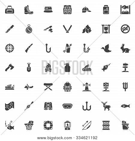 Fishing And Hunting Vector Icons Set, Modern Solid Symbol Collection, Filled Style Pictogram Pack. S