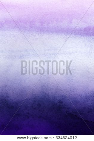 Abstract Watercolor Background. Gradient From Light Purple Lilac To Dark Blue. Ink Blue Ombre. Hand