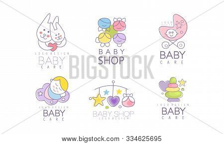 Baby Shop Logos Variant Design Vector Set.