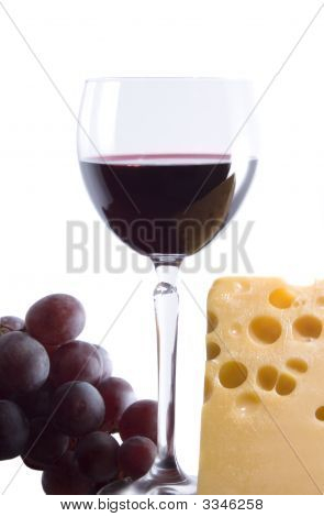Cheeses, Wine And  Grapes On White