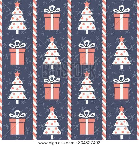 Christmas Pattern. Seamless Vector Illustration With Stylized Christmas Trees, Candy Canes And Prese