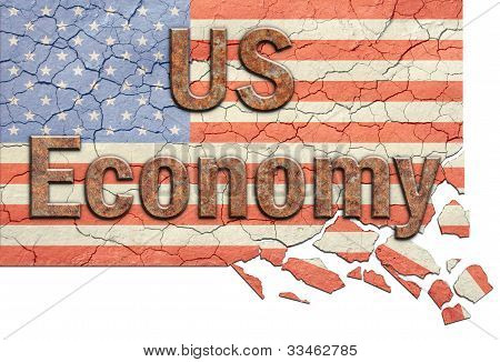 US Economy and Crumbling Flag