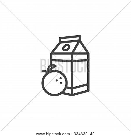 Orange Juice Package Line Icon. Linear Style Sign For Mobile Concept And Web Design. Orange Nectar P