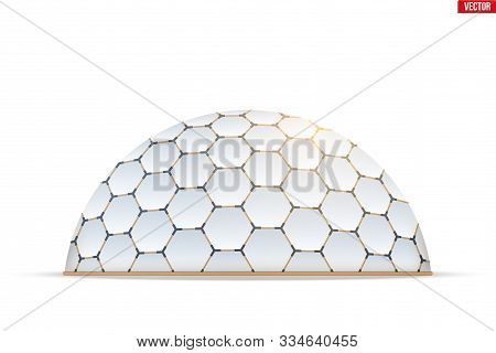 Geodesic Dome Of Hexagon Honeycombs Form. Hemispherical Thin-shell Structure. Vector Illustration Is