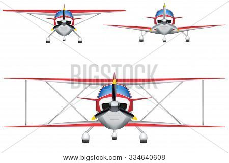 Set Of Civil Light Aircraft. Front View Of Civil Light Airplane. Vector Illustration Isolated On Bac
