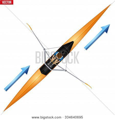Racing Shell And Single Rower For Skull Rowing Sport. One Oarsman Athlete Inside Boat. Top View Of E