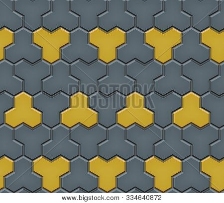 Seamless Pattern Of Tiled Cobblestone Pavers. Geometric Mosaic Street Tiles. Red And Gray Color. Pav