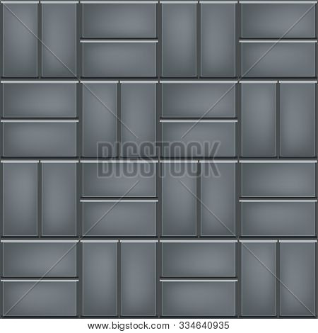 Seamless Pattern Of Tiled Cobblestone Pavers. Geometric Mosaic Street Tiles. Neutral Gray Color. Sin