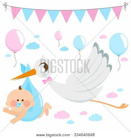 Stork Delivering A New Baby. Vector Illustration Collection