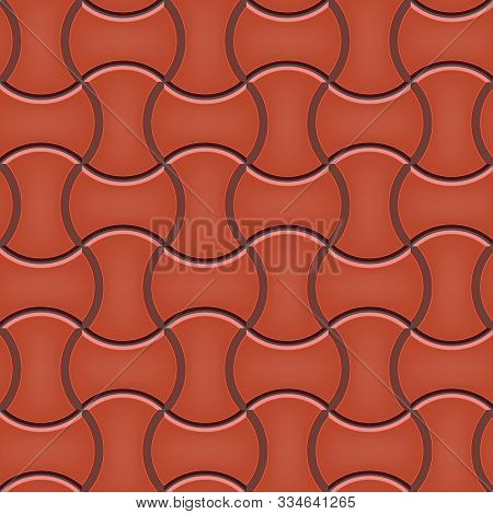 Seamless Pattern Of Tiled Cobblestone Pavers. Geometric Mosaic Street Tiles. Red Color. Round Dumble