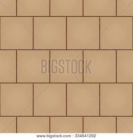 Seamless Pattern Of Tiled Cobblestone Pavers. Geometric Mosaic Street Tiles. Sand Color. Classic Squ