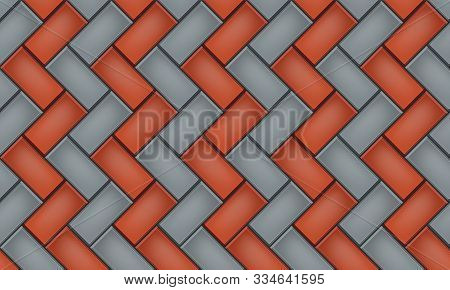 Seamless Pattern Of Tiled Cobblestone Pavers. Geometric Mosaic Street Tiles. Red And Gray Two Color.