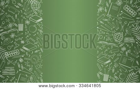 Banner Template With School Objects. Card, Poster For The Day Of Knowledge, September 1, Sale, Teach
