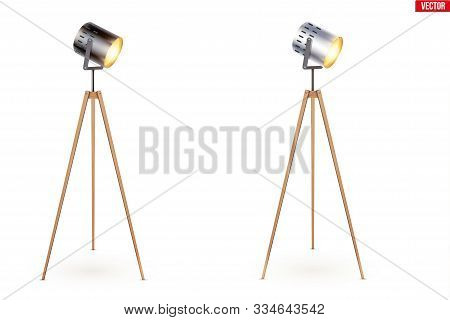 Set Of Decorative Spotlight Floor Tripod Lamps. Switch On. Original Sample Model With Solid Wood Leg