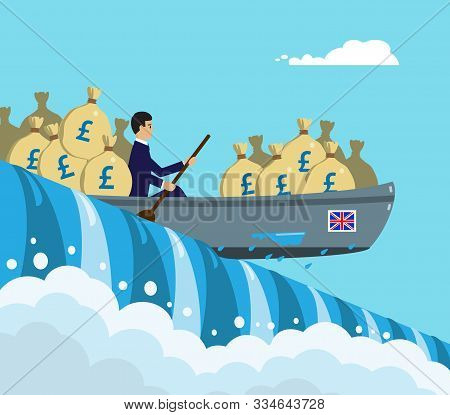 A Kayak Full Of Sterling Money About To Go Over The Edge Of A Waterfall, A Metaphor On The Uk Curren