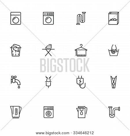 Houseware Line Icon Set. Set Of Line Icons On White Background. Iron, Electricity, Washing Machine.