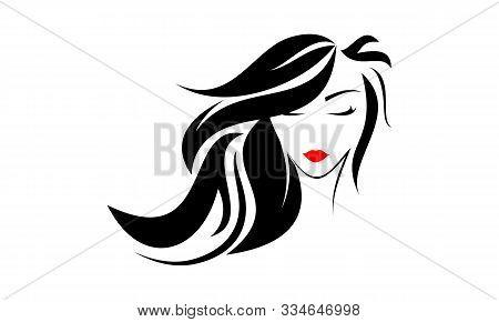 Beautiful Women Face, Hair Salon Logo Vector