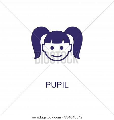 Pupil Element In Flat Simple Style On White Background. Pupil Icon, With Text Name Concept Template