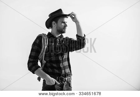 Far Far Away. Vintage Style Man. Wild West Retro Cowboy. Man Checkered Shirt On Ranch. Wild West Rod