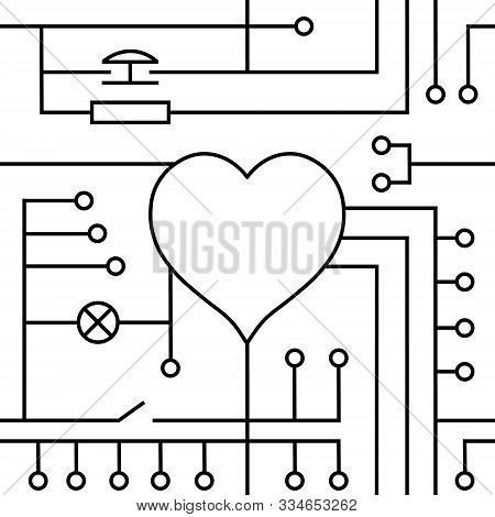 Vector Drawing Heart Valentine`s Day Greeting Card, Original Love Circuitry