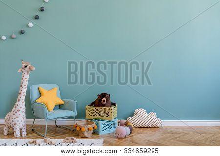 Stylish Scandinavian Kid Room With Toys, Teddy Bear, Plush Animal Toys, Mint Armchair, Umbrella, Cot