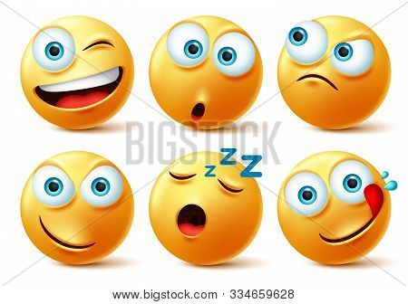 Emoticon Faces Vector Set. Emoticons Of Yellow Face In Naughty, Sleepy, Hungry, Surprise And Angry I