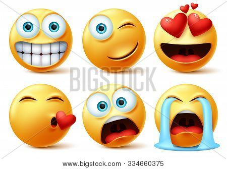 Emojis And Emoticons Face Vector Set. Emoticon Of Cute Yellow Faces In Kissing, In Love, Crying, Sur