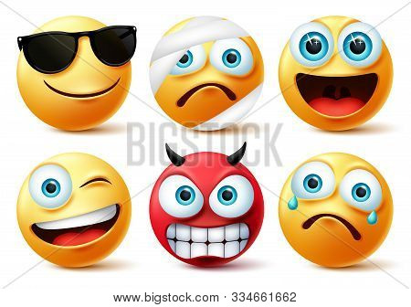 Emoticon Or Emoji Face Vector Set.emojis Yellow Face Icon And Emoticons In Devil, Injured, Surprise,