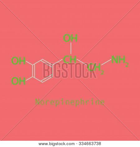 Norepinephrine noradrenaline, norepi hormone and neurotransmitter molecule. Skeletal formula. poster
