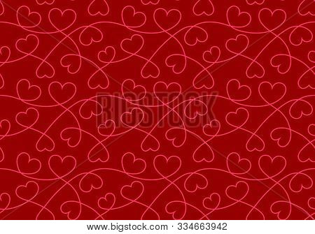 Seamless Pattern With Hearts. Valentine Background With Hearts Texture. Love Romantic Backdrop. Vect