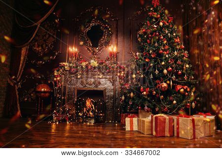Beautiful Christmas interior with Christmas tree and fireplace. Holiday decoration.
