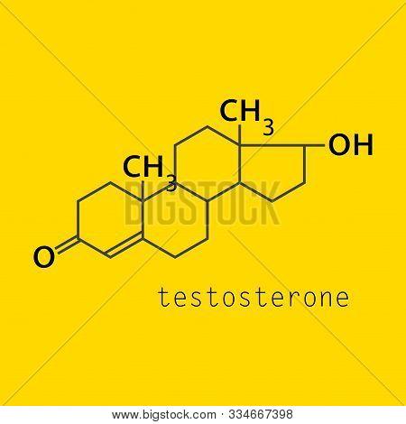 Testosterone Male Sex Hormone Androgen Molecule. Skeletal Formula.