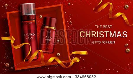 Men Cosmetics Christmas Gift Bottles Shaving Foam And Lotion, Cosmetic Tubes In Box Top View With Go