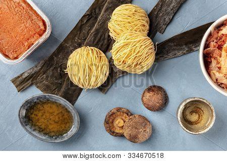 Ramen Ingredients. Dried Sea Vegetable Kelp, Soba Noodles, Miso Paste, Bonito Tuna Flakes, Shiitake