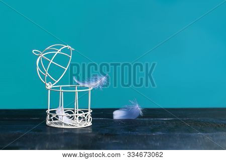Minimalistic Still Life Of A Birdcage On A Table And Scattered Feathers. The Concept Of Freedom, Bre