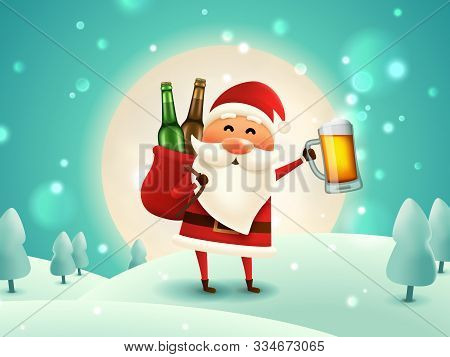 Christmas Beer Poster. Drunk Santa Holding Beer Mug In The Moonlight. The Sack With Craft Beer Bottl