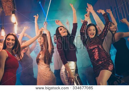 Low Angle Photo Of Crazy People Students Bachelorettes Corporate Company Dance In Nightclub Feel Rej