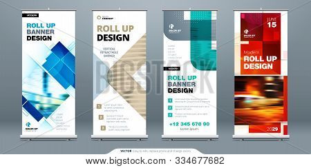 Business Roll Up Banner Stand. Abstract Roll Up Background For Presentation. Vertical Roll Up, X-sta