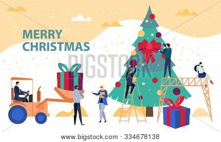 Engineering And Developing Business Christmas Concept Vector Illustration, With People Decorating A