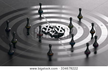 Pawns And Target With Dollar Symbols At The Center Over Black Background. Sales Rep Incentive Progra