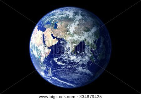 Earth Globe From Space. On A Black Background. With The Atmosphere. Elements Of This Image Were Furn