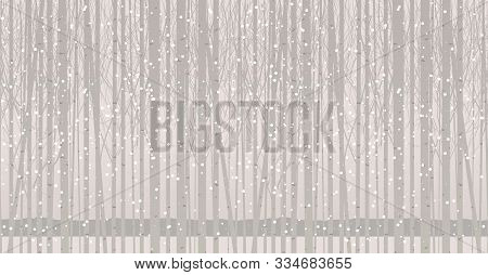 Vector Seamless Pattern With Young Trees. Winter Grove With Birches, Poplars Or Aspens In The Snow.