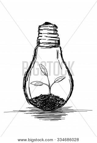 Light Bulb With A Plant Growing - Vector Illustration