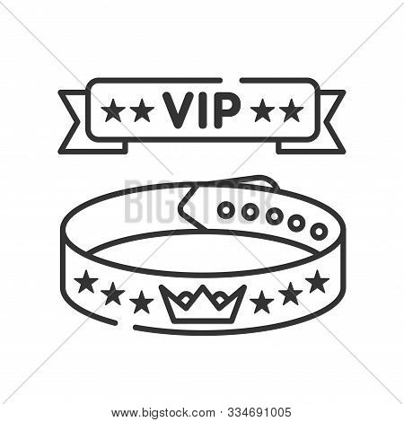Vip Wristband Line Black Icon. Bracelet For Entering Various Events. All Inclusive. Red Ribbon With