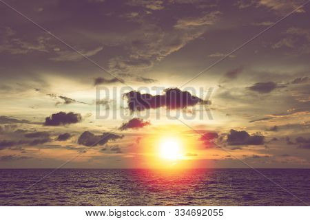 Beautiful Summer Sunset With Dark Cloud At Tropical Beach In Thailand