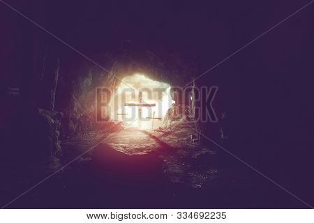 View From Cave Of Three Crosses On Hill Of Calvary, Crucifixion Of Jesus Christ Background, Resurrec