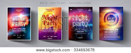 Set Poster For Night Party.flyer Design Template.concept Design For Banner.set Flyer For Dance Club