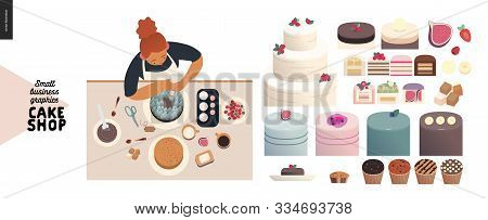 Cake Shop, Cakes On Demand - Small Business Graphics - Cakes Assortment And A Process -modern Flat V