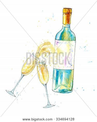 Wineglasses Of A Champagne And Bottle.picture Of A Alcoholic Drink.watercolor Hand Drawn Illustratio