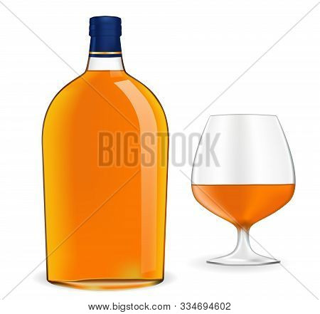 Bottle Of Brandy And Snifter. Vector Illustration Isolated On White Background